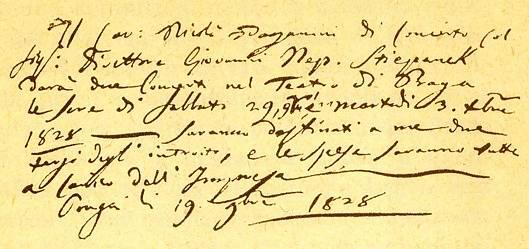 Smlouva na Paganiniho koncerty v Praze