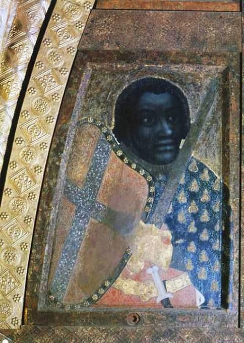 Svatý Mořic od Jana z Opavy, středověkého písaře a iluminátora ze 14. století