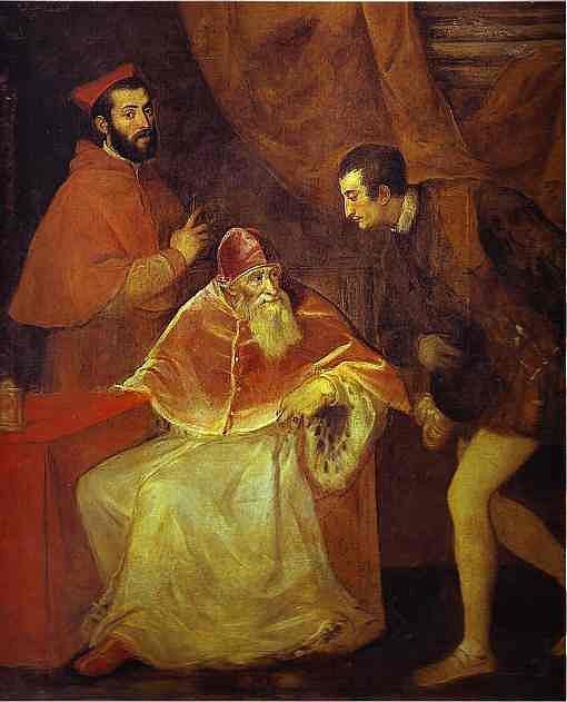 Tizian Vecelli: Papež Pavel III. se svými synovci - kardinály Alessandrem a Ottaviem Farnese (1546)