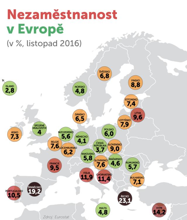 Zmapky je zřejmé, že celé střední Evropě, navázané na Německo, se ekonomicky vzásadě daří, jižní křídlo EU se ale potýká se závažnými ekonomickými problémy. Vysoká nezaměstnanost přitom postihuje hlavně mladé do 25let