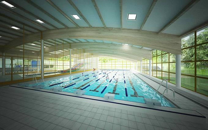 Vizualizace: Vnitřní 25metrový bazén sousedí se zahradou a čtyřdráhovou skluzavkou.