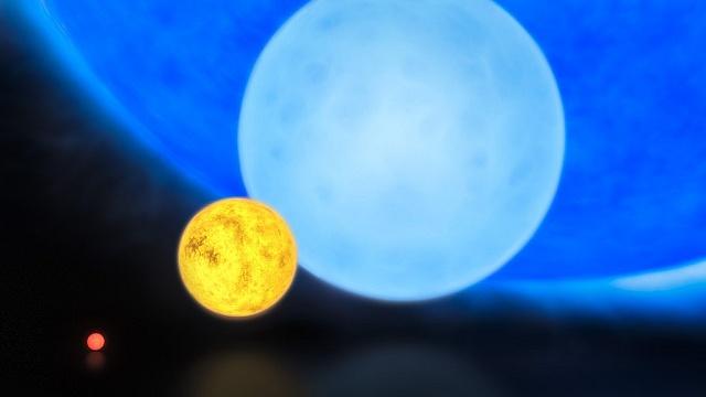 Srovnání velikosti hvězd různého typu: zleva červený trpaslík, naše Slunce, obyčejný modrý obr a R136a1