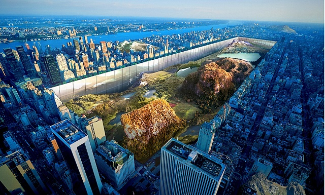 """Central Park """"potopený' pod úroveň moře, aby ve stěnách po jeho obvodu mohly vyrůst nové mrakodrapy. (1.místo)"""