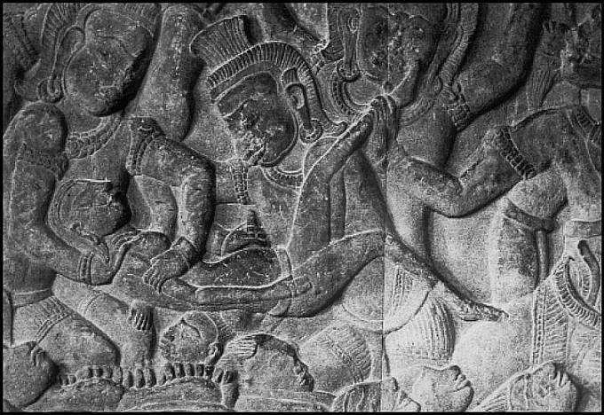 Reliéf z doby okolo r. 1150, zobrazující démona, který vyjímá plod z lůna ženy