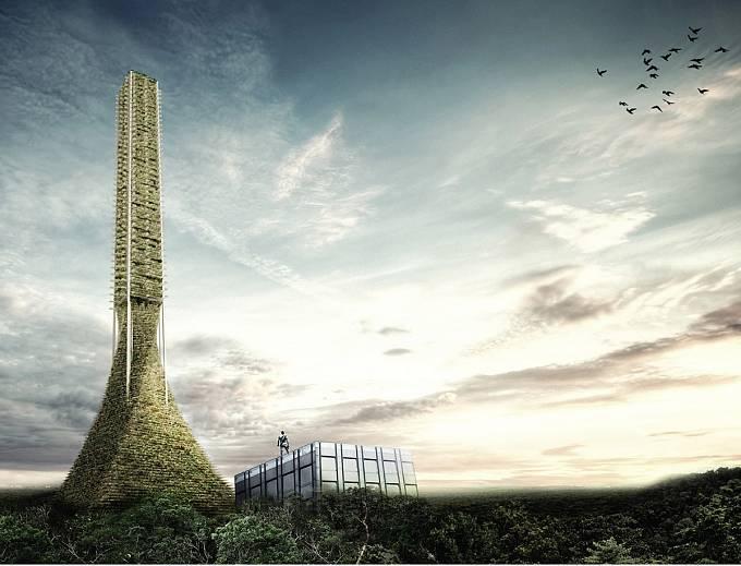 Věž pojmenovaná Babel by v budoucnu měla fungovat jako semínko přírody vsazené do betonu, tedy jako zdroj biologické diverzity pro nejbližší okolí. (Čestné uznání)