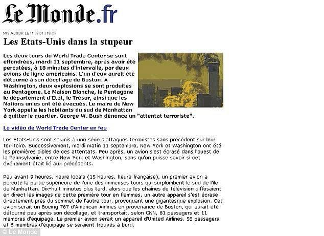 Webová stránka serveru Le Monde