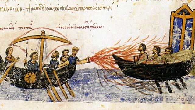 Byzantská loď používá řecký oheň proti útočníkům