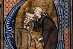 Mnich ochutnává víno - francouzský rukopis ze 13. století