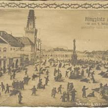 Malovaná pohlednice se zobrazením kadaňského masakru, kterou nechal vyrobit manžel jedné z obětí