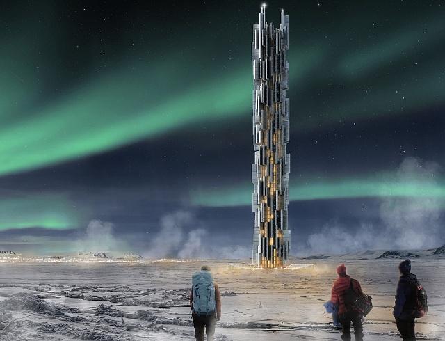 Mrakodrap na Islandu? Proč ne. Tento by měl fungovat jako výškové datové centrum se zelenou energií a zároveň spodmínkami pro snadnější chlazení. (3.místo)