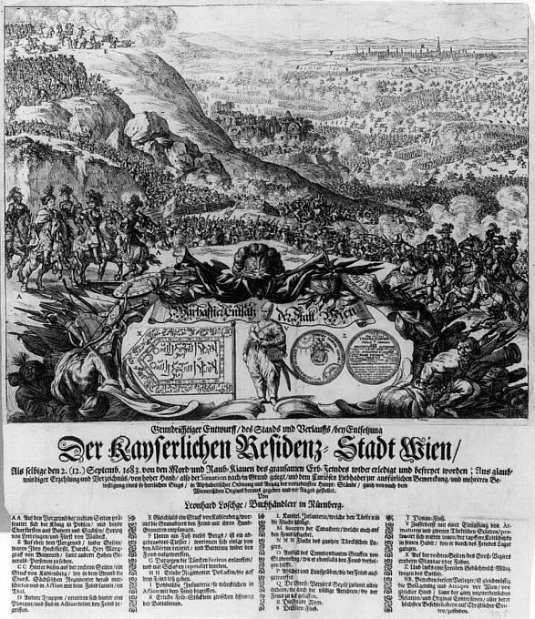 Bitva u Vídně na rytině ze 17. století.