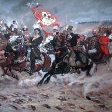 Casimir Pulaski ještě coby Kazimierz Pułaski v čele polské kavalerie při obraně kláštera v Čenstochové