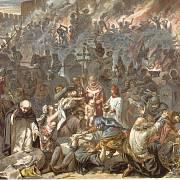 Středověký pogrom (na obraze je zachyceno vyvraždění Židů ve Štrasburku v roce 1349)