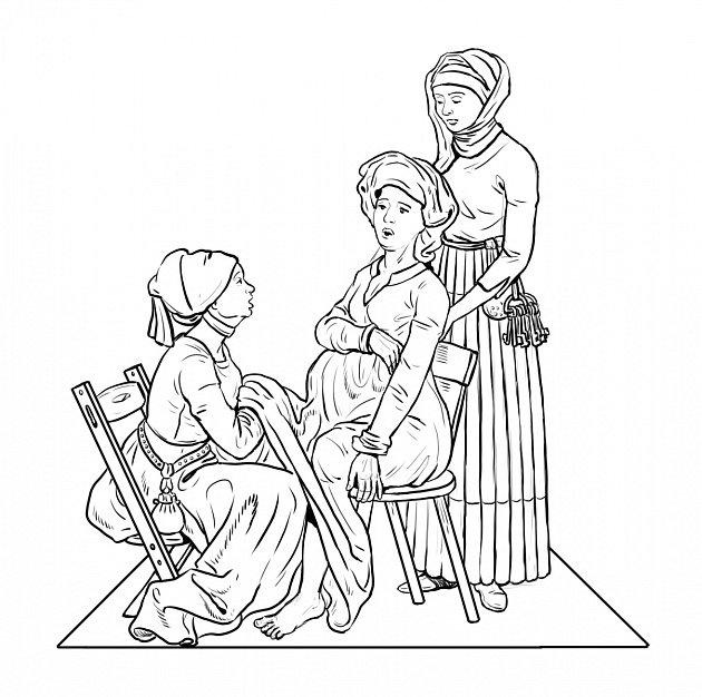 Historická ilustrace středověké porodní báby 'v akci'
