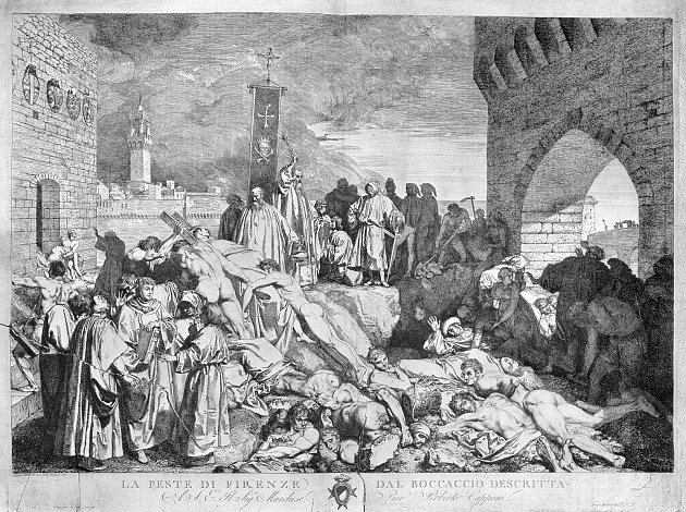 Epidemie moru vroce 1348zpustošila například italskou Florencii.
