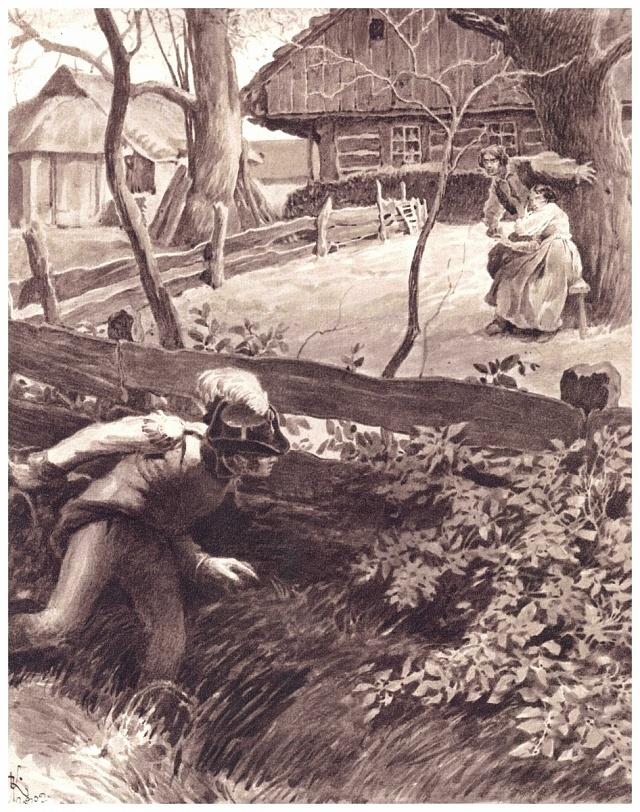 Černý myslivec sledující Viktorku na každém kroku. Ilustrace Adolfa Kašpara vBabičce sroku 1934