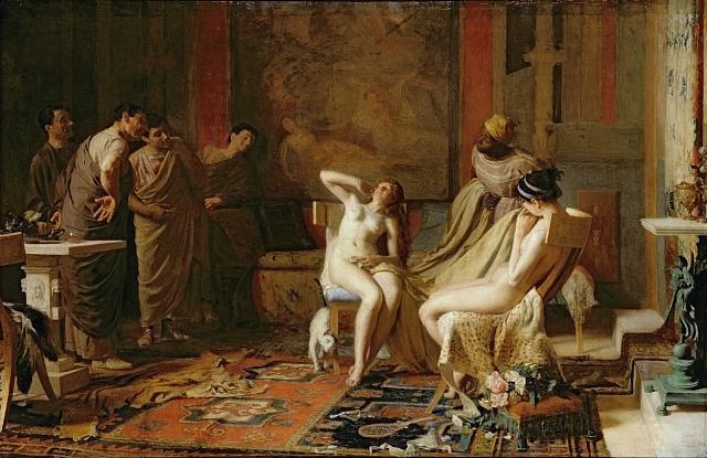 Otrokyně představené císaři Oktaviánovi, malba zr. 1883