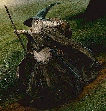 Slavné zobrazení Gandalfa od Johna Howea, jež inspirovalo i Petera Jacksona