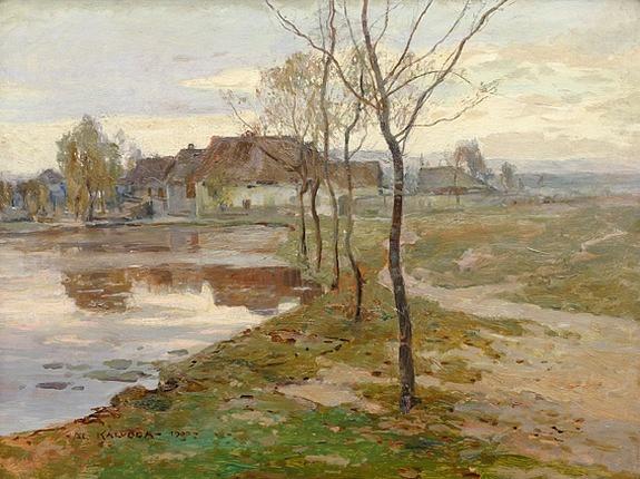 Alois Kalvoda: Na břehu rybníka (1900)