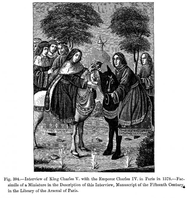 Karel IV. potkává francouzského krále Karla V.