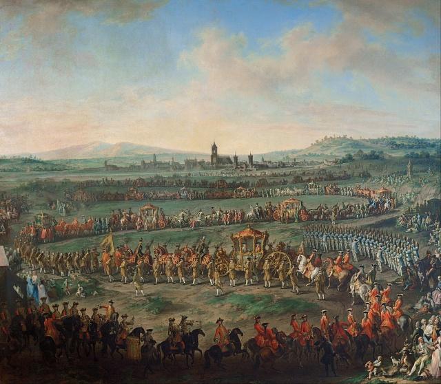 Korunovační průvod ve Frankfurtu během korunovace Josefa II. na císaře Svaté říše římské