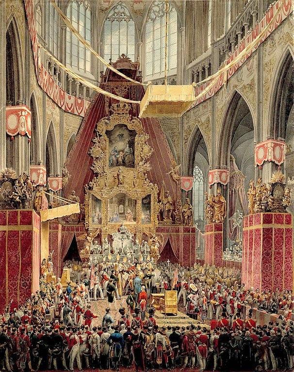 Poslední česká korunovace. Rakouský císař Ferdinand I. se 7.září 1836stal vpražském chrámu sv. Víta českým králem Ferdinandem V. (Dobrotivým).