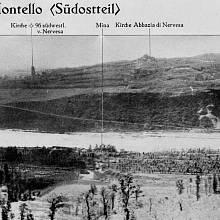 Výšina Montello – pohled na jihovýhodní část, kterou dobývaly jednotky 13. střelecké divize. Uprostřed na obzoru jsou ruiny starého benediktinského kláštera sv. Eustacha, podél nichž postupoval 25. střelecký pluk.