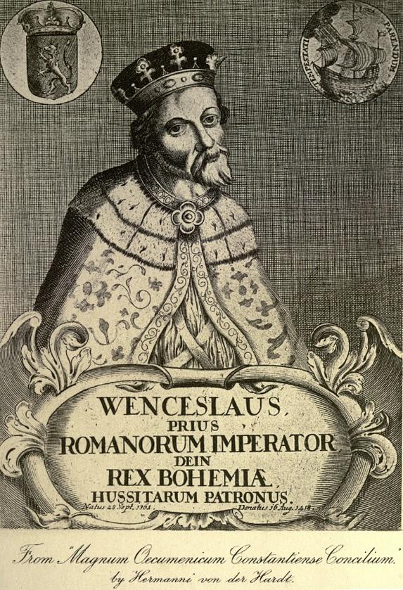 Václav IV. na fiktivním portrétu zdoby baroka