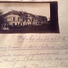 Dopis Václava Štětky s přiloženou fotografií zámeckého lazaretu v Makó