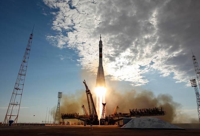 Start Sojuzu TMA-05M z kosmodromu Bajkonur