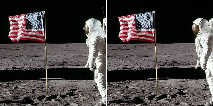 Astronaut provedl pohyb, ale vlajka zůstala v neměnné pozici.