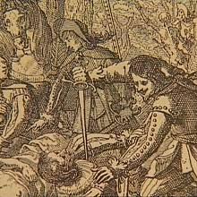 Vražedná rána uprostřed spousty lidí na dobové kresbě. Tak nějak mohlo proběhnout střetnutí Jana Kopidlanského s Cukrem z Tamfeldu