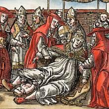 Papežka Jana rodí na ulici před očima šokovaných duchovních.