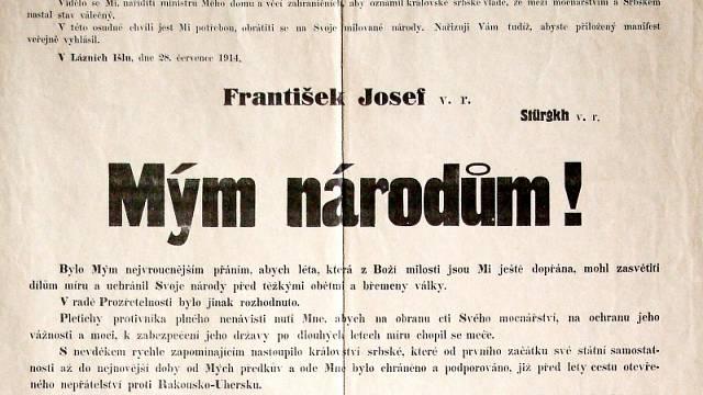 Detail známého manifestu císaře Františka Josefa I., oznamující začátek války se Srbskem
