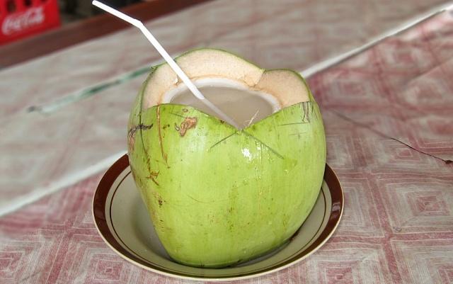 Tradiční nápoj (nejen) vKaribiku. Kokosová voda přímo zořechu.