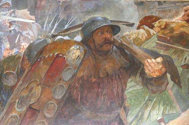 Nástěnná malba vobřadní síni olomoucké radnice zachycuje vyhnání husitů zokupované Litovle, které 2.11.1437 přišli na pomoc olomoučtí měšťané