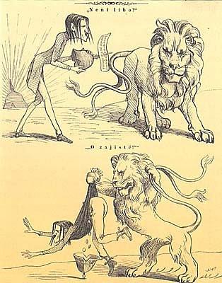 Karikatura Soběslava Pinkase ironizující Fričovo období německé emigrace. Podobnost snormalizačním výsměšným postojem kemigraci bije do očí