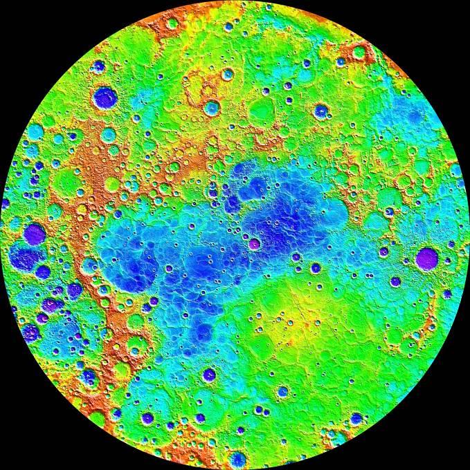 Topografická mapa severní polokoule Merkuru, kterou pořídila pomocí nástroje MLA sonda Messenger.