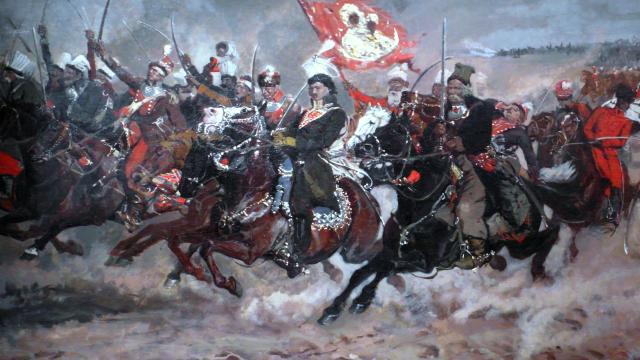 Casimir Pulaski ještě coby Kazimierz Pułaski při obraně kláštera v Čenstochové