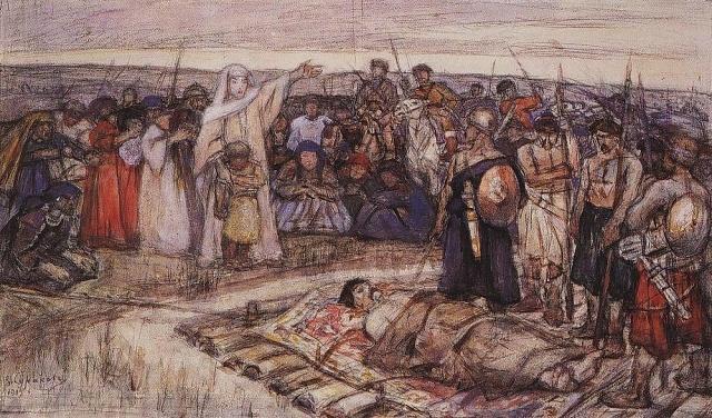 Kněžna Olga shledává tělo zabitého knížete Igora. Skica V. I. Surikova, 1915