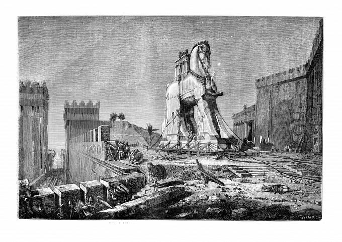Motiv Trojského koně se objevuje v lidské kultuře odpradávna. Tato verze pochází z roku 1875.