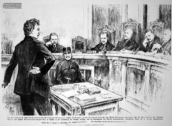 Dobové vyobrazení soudního procesu sFriedrichem Adlerem zroku 1917