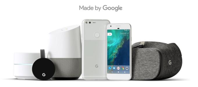Made by Google: Google Wifi, Chromecast media player, Home speaker, Pixel phone a Daydream