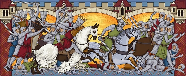 Válečný výjev ze středověkého manuskriptu