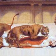 Římané měli v oblibě zápasy vězňů s divokými šelmami.