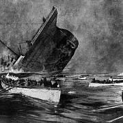 Potápějící se Titanic (pozdější kresba očitého svědka Willyho Stöwera)