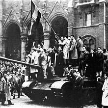 Symbolem maďarské revoluce byla národní vlajka s tradičním královským znakem, popřípadě s vyřízlým znakem komunistickým