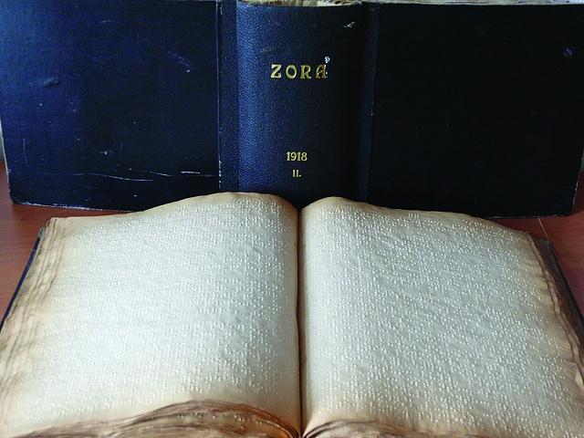 Časopis Zora zroku 1918vBraillově písmu