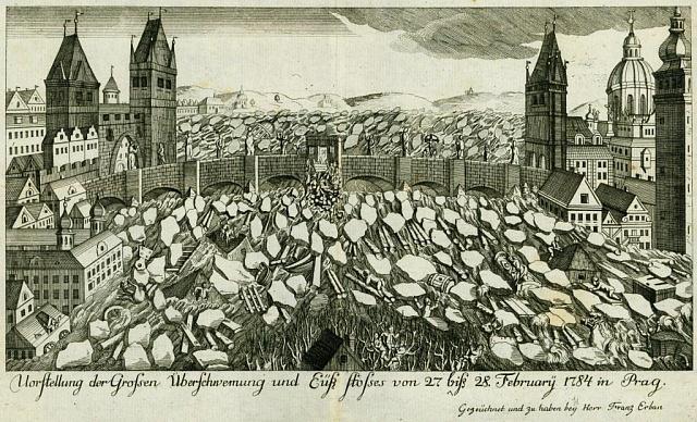 Mědirytina F. Erbana, zachycující povodeň v Praze v roce 1784