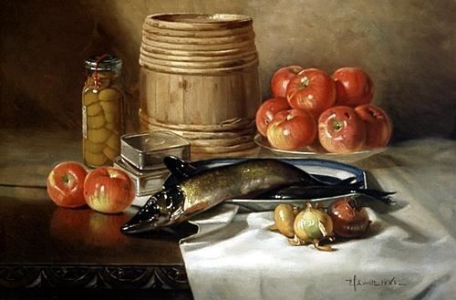 Ryby iovoce byly konzumovány velmi hojně, ovoce však sloužilo spíš jako dezert. Olej na plátně.